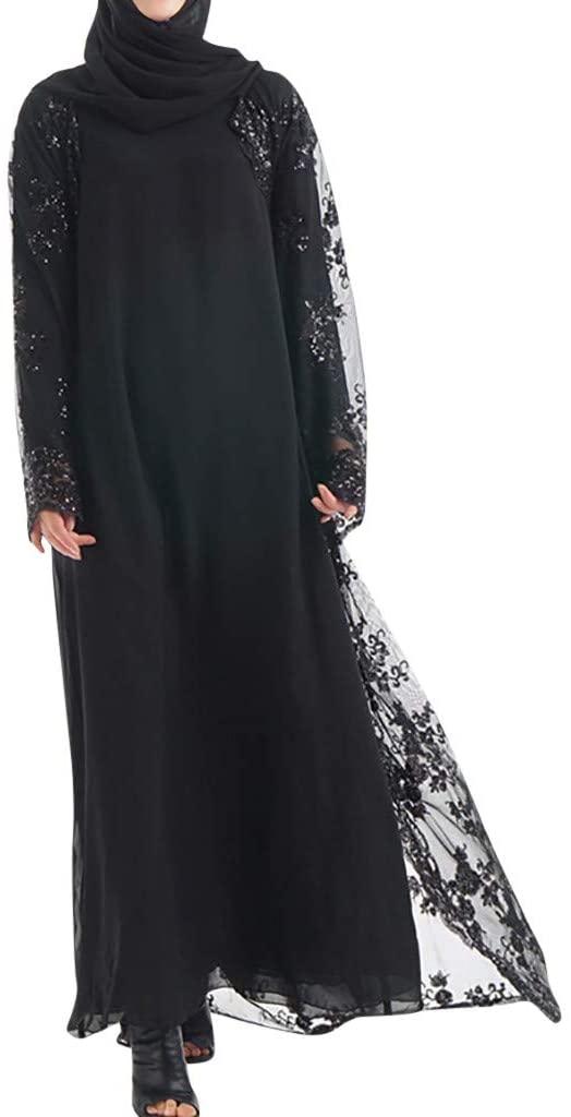 Cegduyi Muslim Womens Long Skirt Cardigan Luxury Sequin Embroidery Lace Seamless Outside Loose Casua Islamic Arab Kaftan
