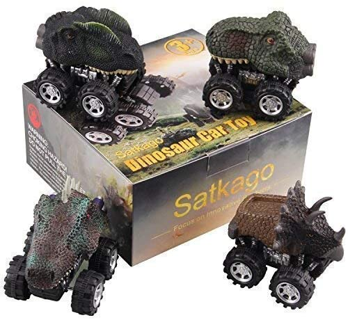 Satkago Dinosaur Toys Pull Back Car Easter Basket Stuffers Fillers, 4 Pcs Dino Cars Toys with Big Tire Wheel for Boys Girls Creative Gifts for Kids