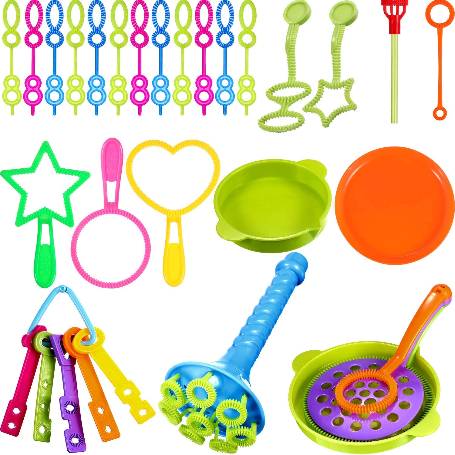 BBTO 39 Pieces Colorful Multihole Bubble Toys Bubble Making Wand with Dipping Dish for Kids