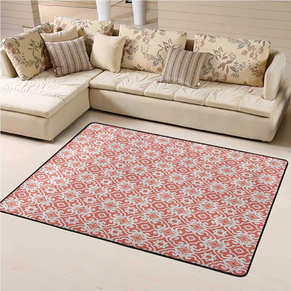 Kids Rug Coral Kids Play Rug Geometric Art Deco Pattern with Lacing Shapes 30s Style Vintage Motifs 4 x 6 Ft Coral Pale Coral White