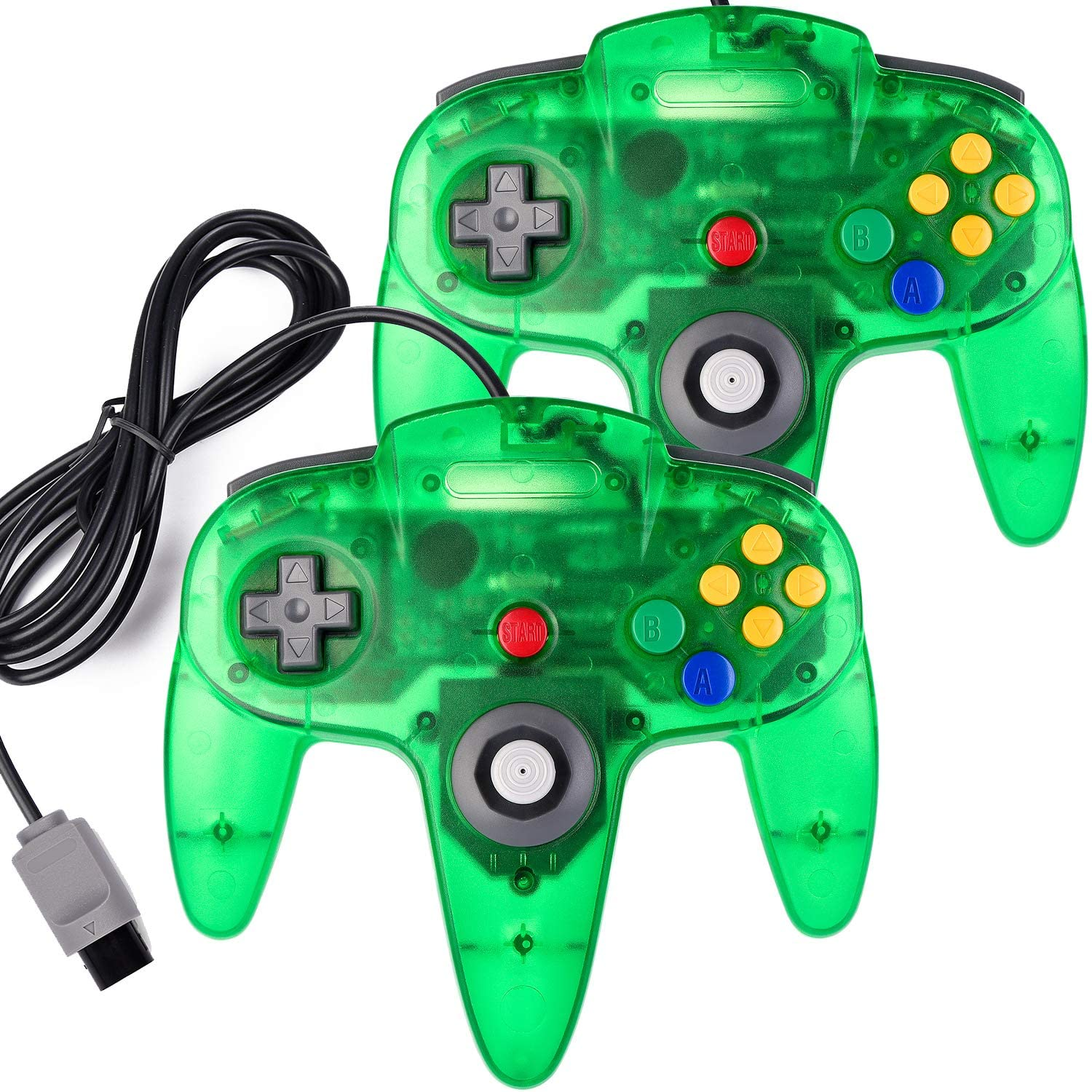 2 Pack N64 Controller, MODESLAB Classic Wired N64 64-bit Gamepad Joystick for Ultra 64 Video Game Console N64 System (Transparent Green)