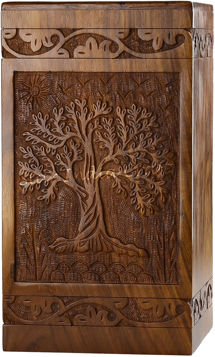 STAR INDIA CRAFT Rosewood Urn for Human Ashes Adult,Tree of Life Wooden Urns for Ashes, Cremation Pet Urns for Dogs Ashes, Wooden Box, Funeral Urn Box (Tower Tree of Life, 150 Cu/in)