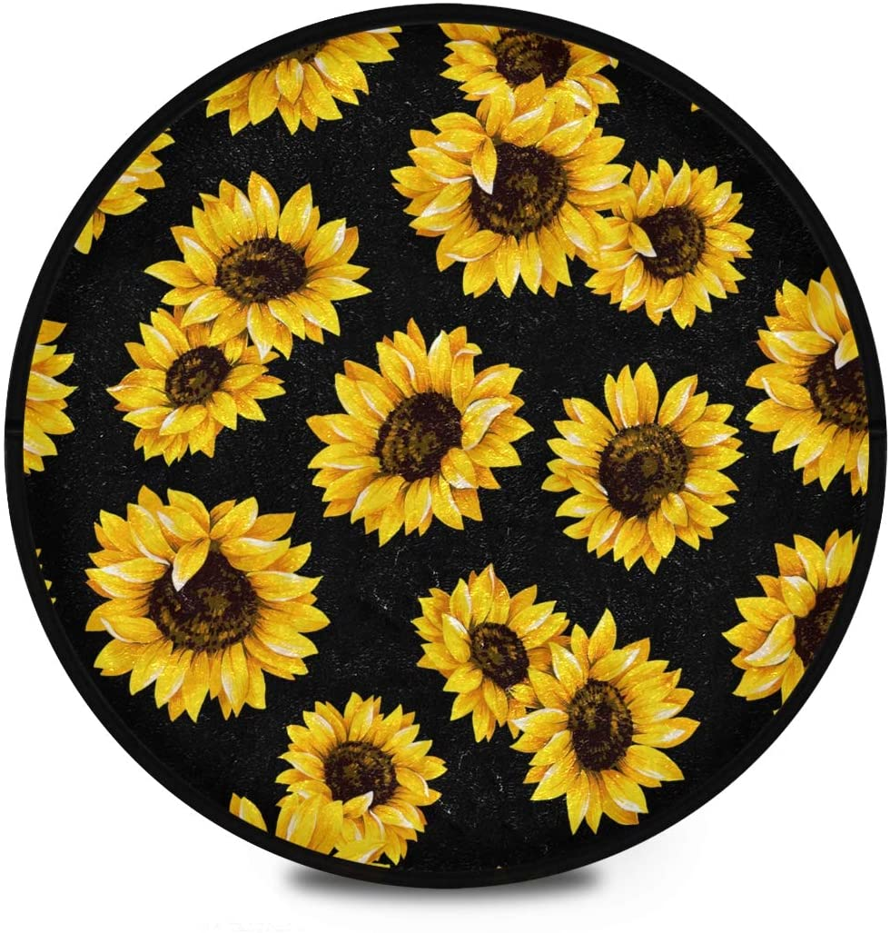 Shaggy Round Mat Beautiful Sunflowers Small Round Rug for Kids Bedroom Anti-Slip Rug Room Carpets Play Mat