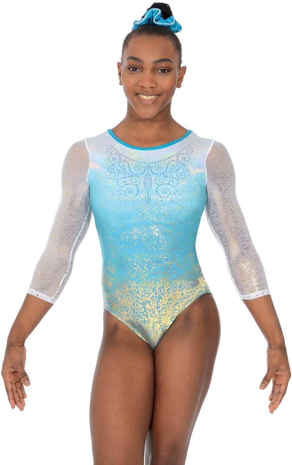 The Zone Aura 3/4 Length Sleeve Gymnastics Leotard 30 Aura Print