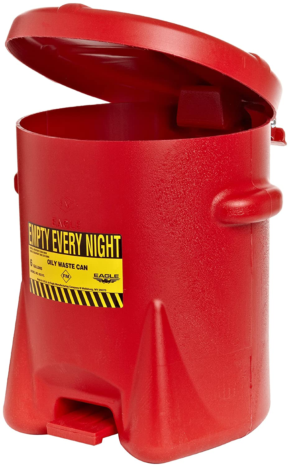 Eagle 933-FL Oily Waste Polyethylene Safety Can with Foot Lever, 6 Gallon Capacity, Red