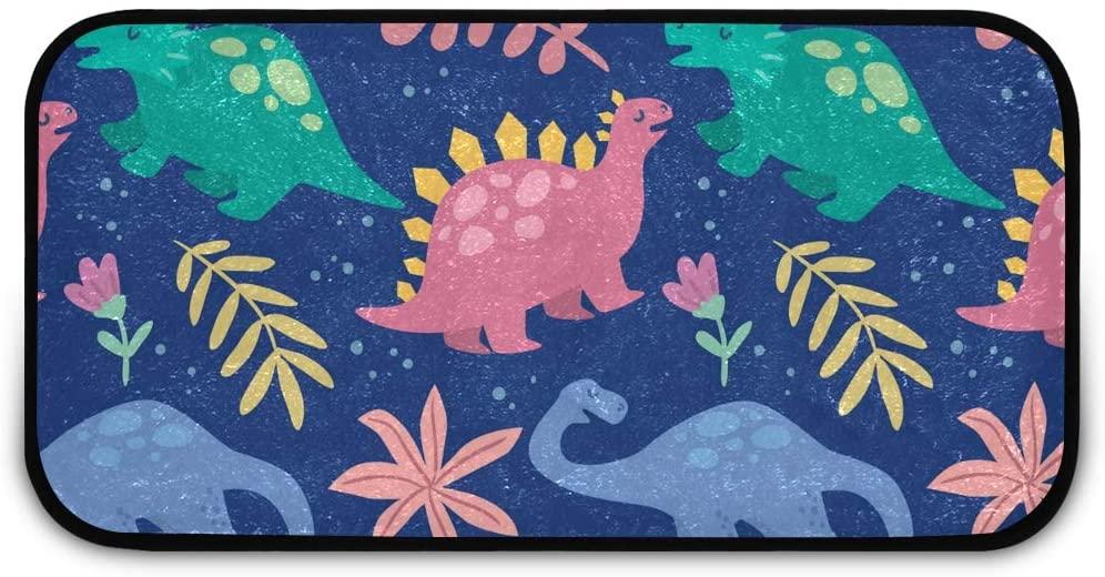 Rectangle Shaggy Rug Doormat for Kids Cute Dinosaurs Pattern Living Room Anti-Slip Rug Rectangle Carpet Play Mat