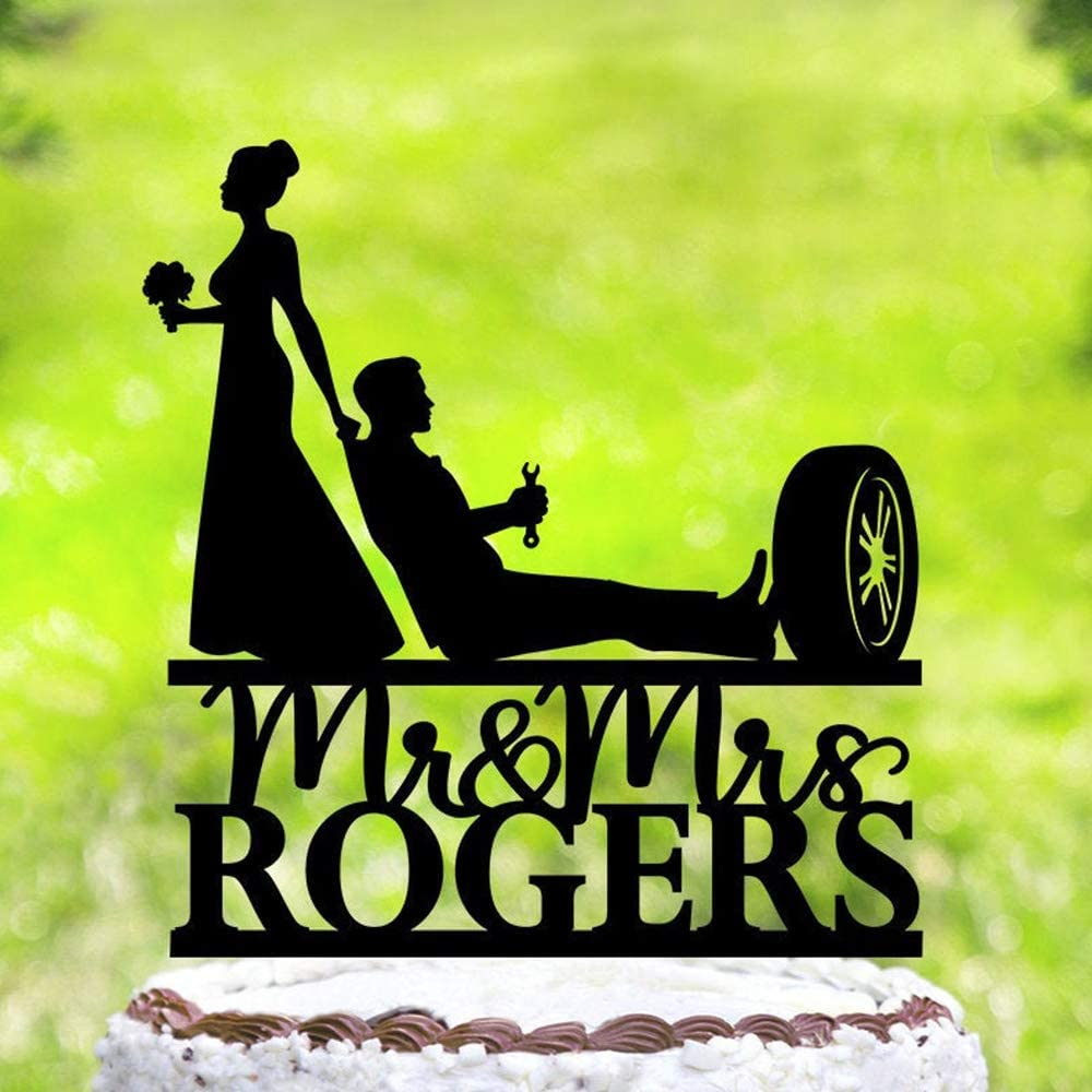Personlized Name,Car Mechanic Funny Wedding Cake Topper,Automatic Mechanic Wedding Cake Topper,Wrench Tools,Bride and Groom,Mr & Mrs Cake Topper