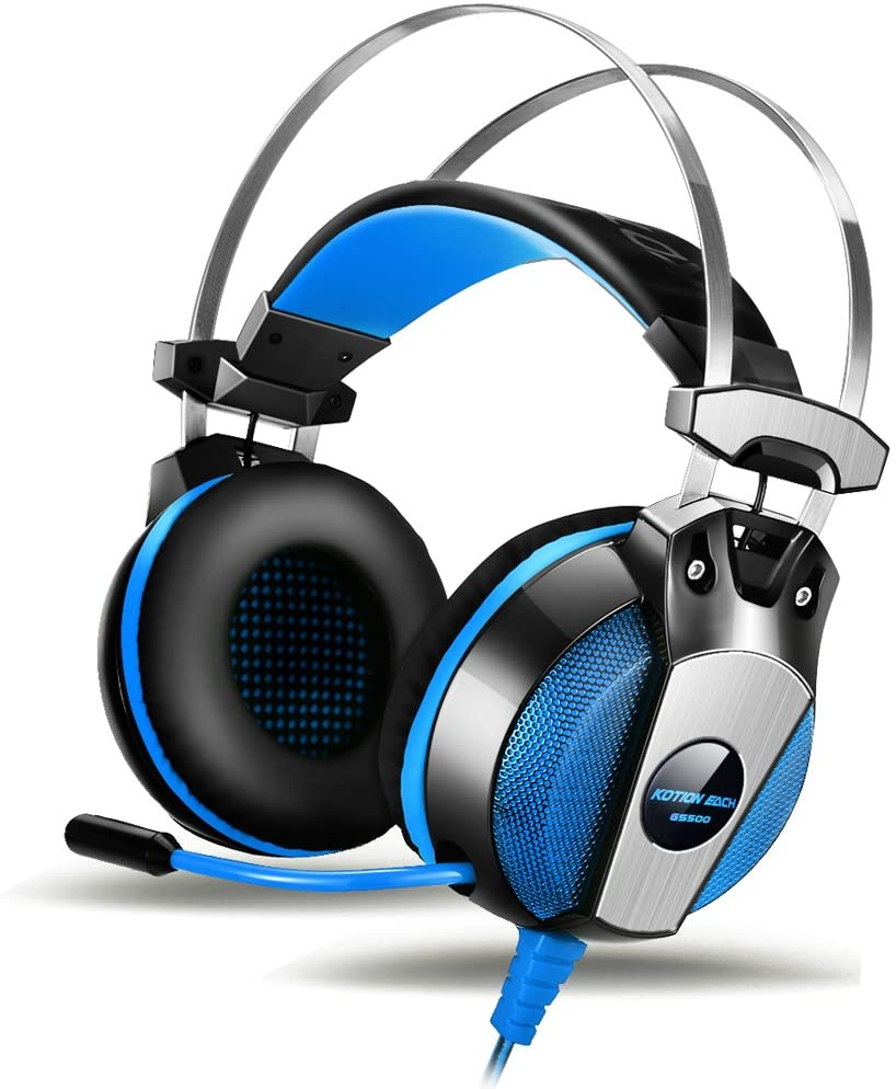 Gaming Headset AOSO GS500 Gaming Headsets with Microphone 3.5mm Over Ear Headphones On-Ear Earphone with In-Line Volume Control LED Light 6.9ft Long Cable for PS4 PC Computer-Blue with Box