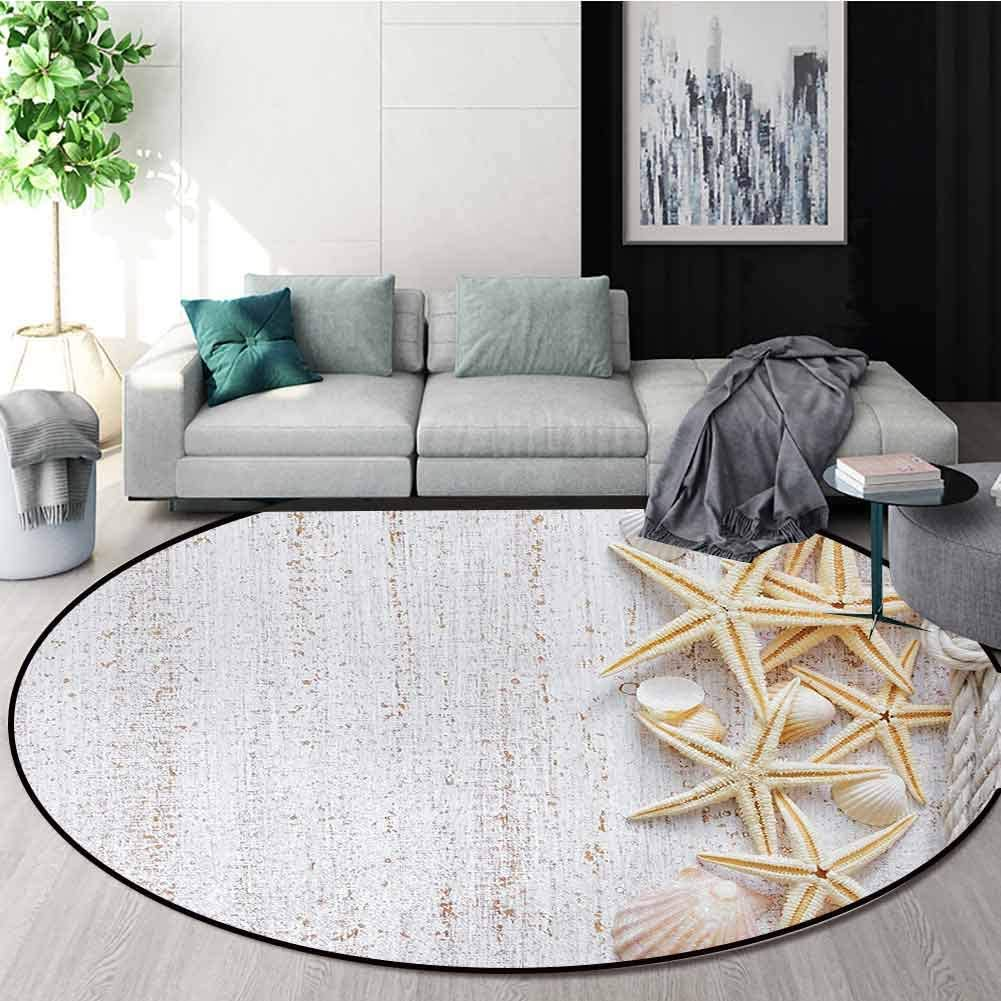 DESPKON-HOME Seashells Round Area Rug Carpet,Seashells and Starfish with Navy Rope in Vertical Direction Wood Surface Ocean Beach Living Dining Room Bedroom Hallway Office Carpet Round-47 Inch,Ivory