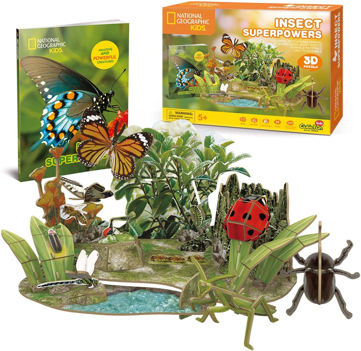 Cubicfun National Geographic 3D Puzzle Insect Science Model for Kids with Booklet, Insect Superpowers