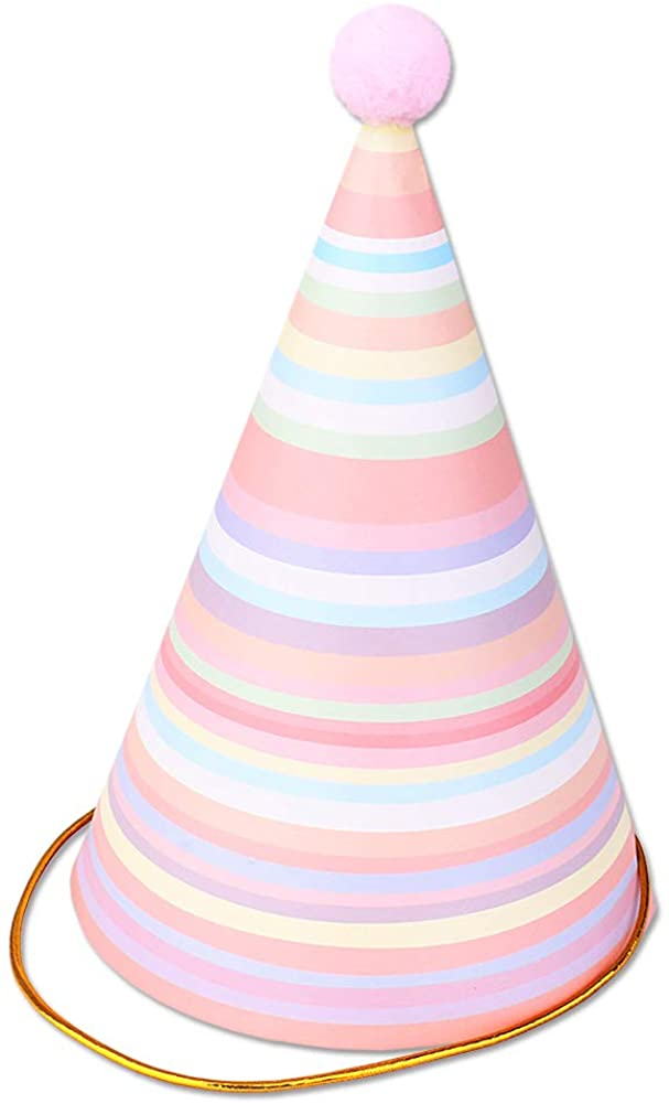 Vesil Pink Happy Birthday Party Hats for Girls Women Party Decorations, 6ct