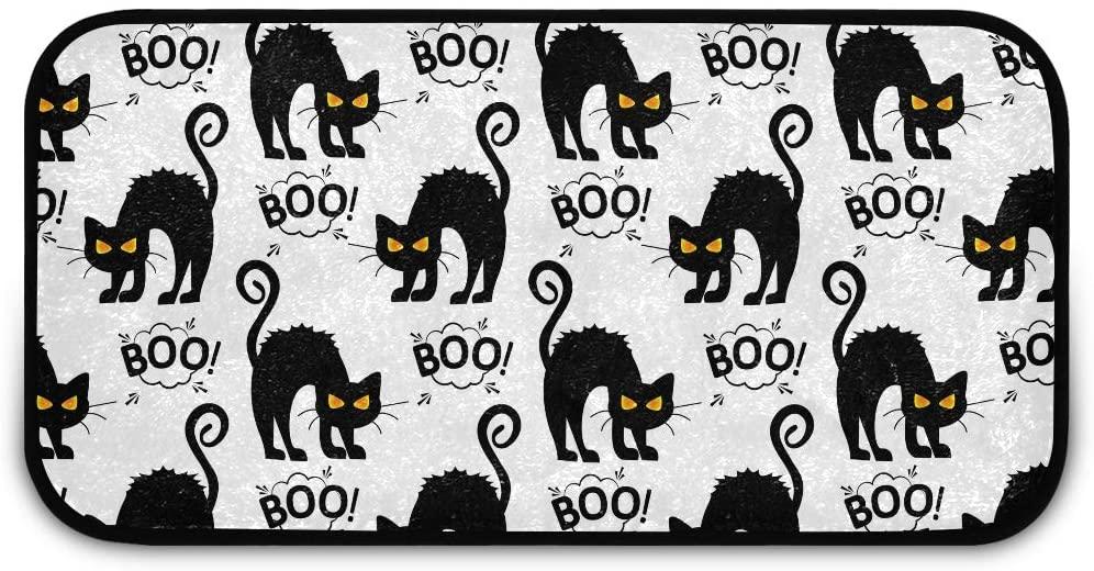 Halloween Rectangle Shaggy Rug Rugs Kitchen for Kids Halloween Boo Black Cat Bedroom Anti-Slip Rug Rectangle Carpet