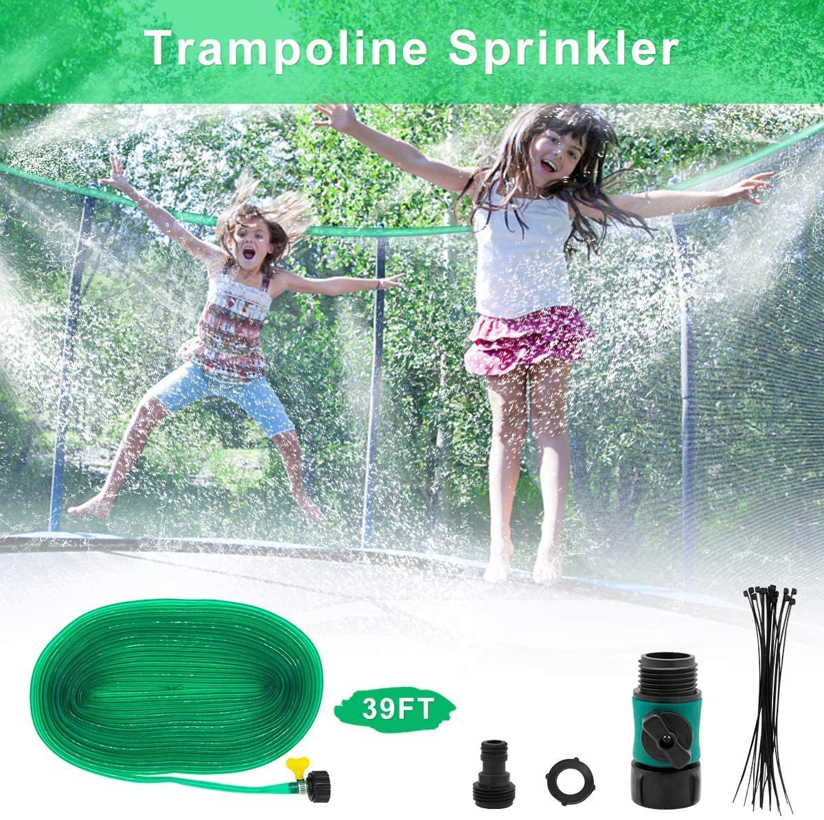 DEKAVA Trampoline Sprinkler, Fun Summer Outdoor Water Park Game Sprinkler for Kids, Yard Toys Trampoline Accessories 39ft