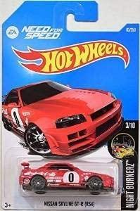 Hot Wheels 2016 Night Burnerz Need for Speed Nissan Skyline GT-R (R34) 83/250, Red