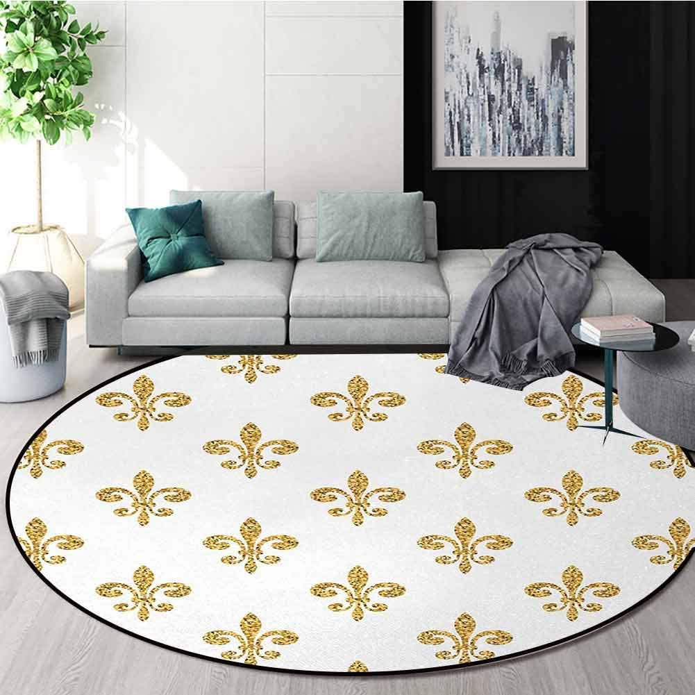 Fleur De Lis Warm Soft Cotton Luxury Plush Baby Rugs,Vintage Stylized European Lily Aristocratic Dignified Majesty Artful Print Kids Teepee Tent Game Play House Round Round-59 Inch,Yellow White