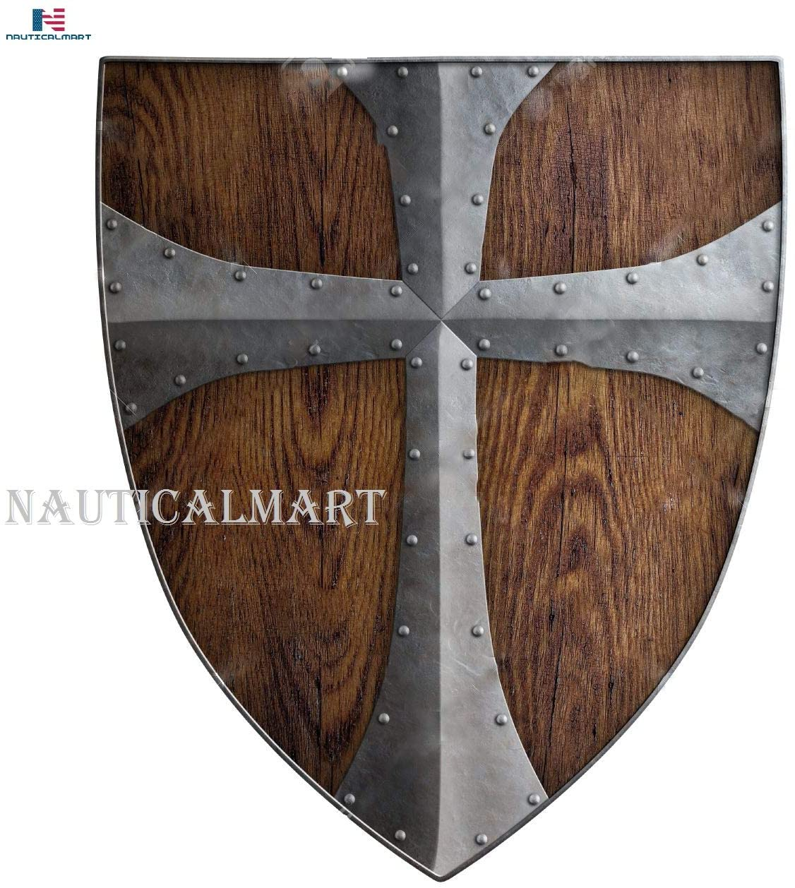 Nautical-Mart Medieval Crusader Wooden Shield - SCA/LARP/Norse/Norway/Antique/Armor