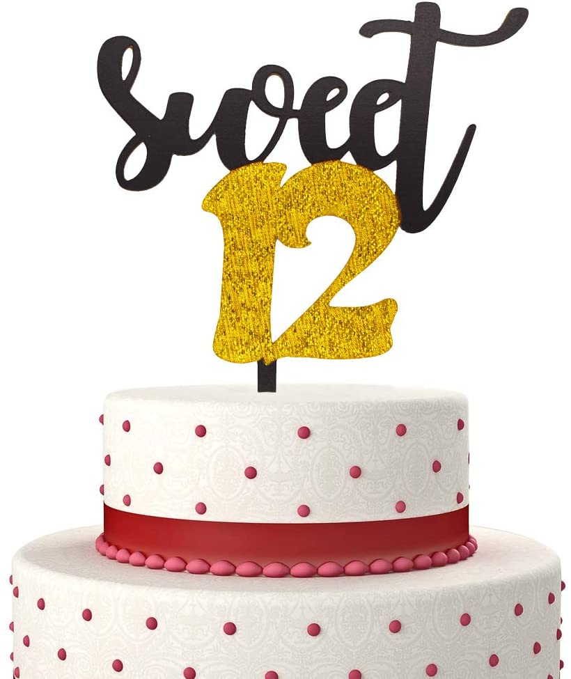 Sweet 12 Cake Topper for Happy 12th Birthday or Anniversary Party Decorations Twelve Years Old 12th Birthday Acrylic Cake Decor (Gold & Black)