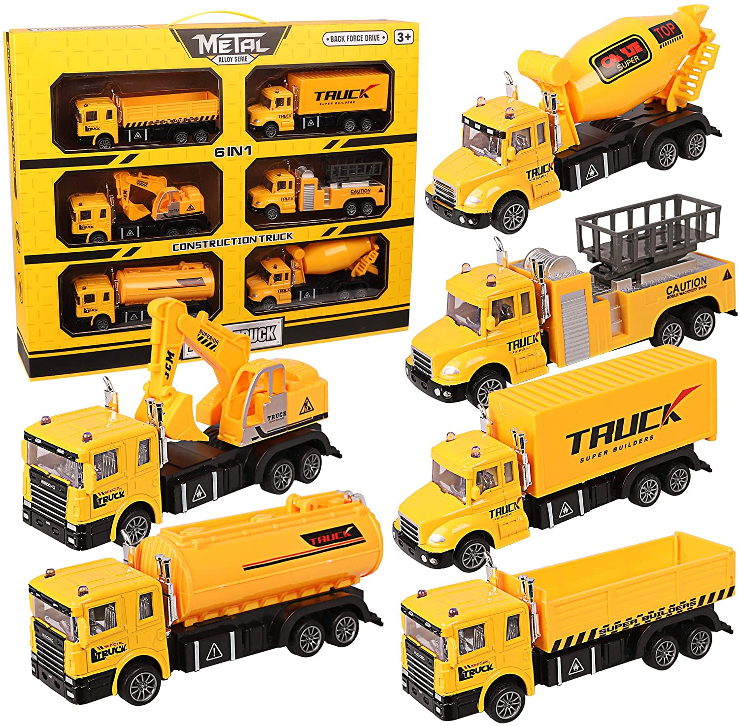 LQKYWNA Construction Truck Toys Sets Gift Package Pull Back Car Toy Set Educational Toy Set Six of Simulation Engineering Vehicles for Exercise Children's Coordination and Athletic Ability