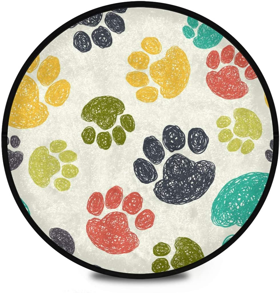 Shaggy Round Mat Oodle Paw Round Rug for Kids Bathroom Anti-Slip Rug Room Carpets