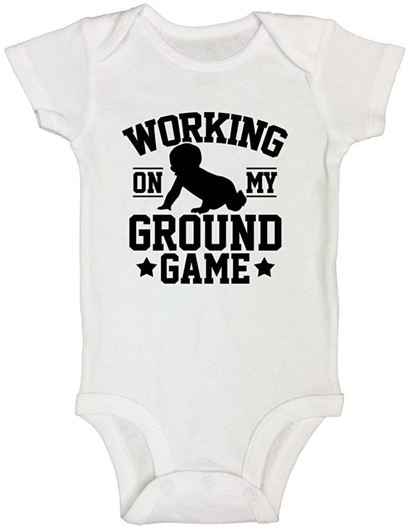 Cute Boys UFC Bodysuits Working On My Ground Game Royaltee Shirts 6-9 Months, White