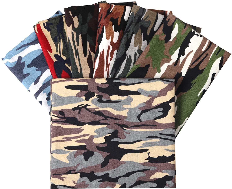 Picheng Fat Quarter Camouflage Print 100% Cotton Poplin Fabric Camouflage Print Cotton Fabric for Dressmaking Shirts Clothes Sewing Patchwork DIY Craft 7pcs 18.8