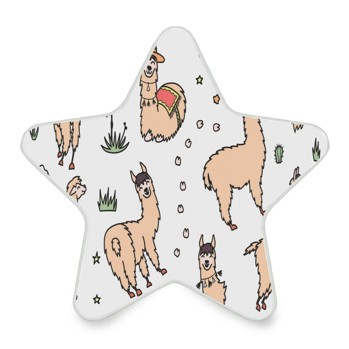 LED Night Light Illustration of South America Cute Lama with Decorations Nightlight Decorative Star Pentagram Shaped Plug in for Kids Baby Girls Boys Adults Room
