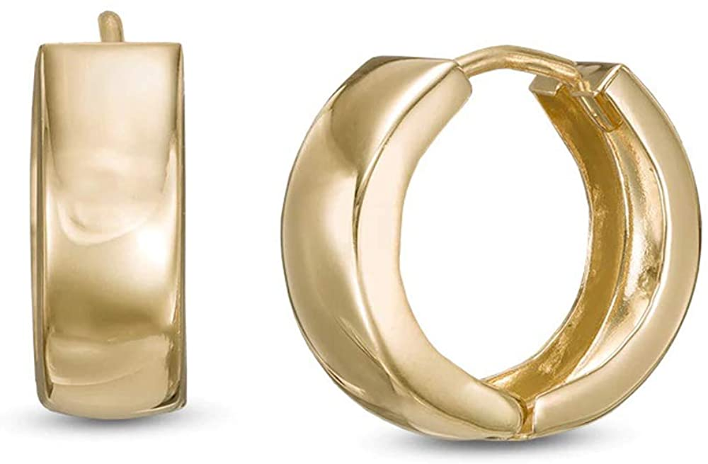 HN Jewels Huggie Hoop Earrings For Womens & Girls In 14K Yellow Gold Plated With 925 Sterling Silver