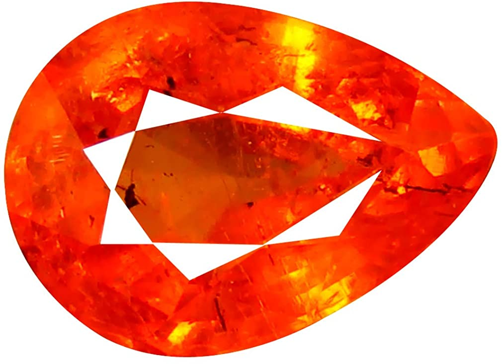 1.63 ct AAA Pear Shape (8 x 6 mm) Tanzanian Fanta Color Orange Spessartine Natural Loose Gemstone