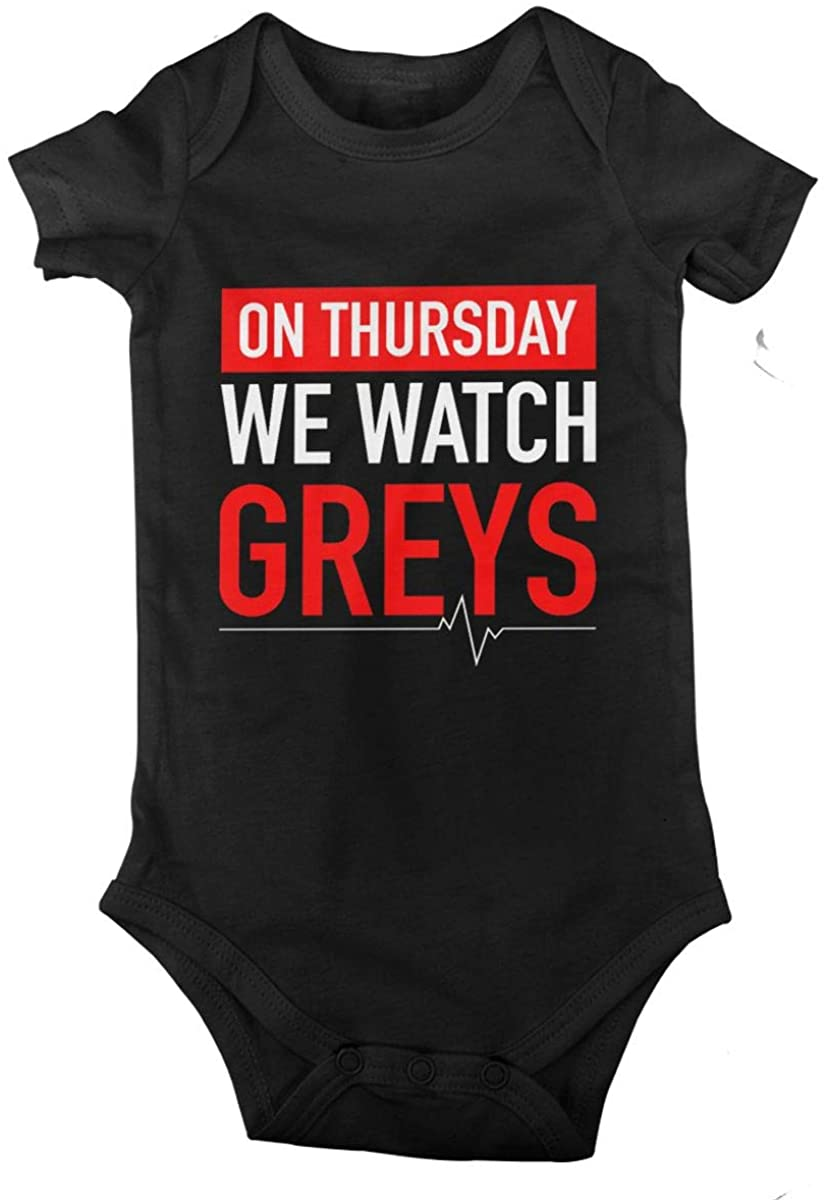On Thursday We Watch Greys Baby Onesies Boys Girls Bodysuit Newborn Infant Jumpsuit