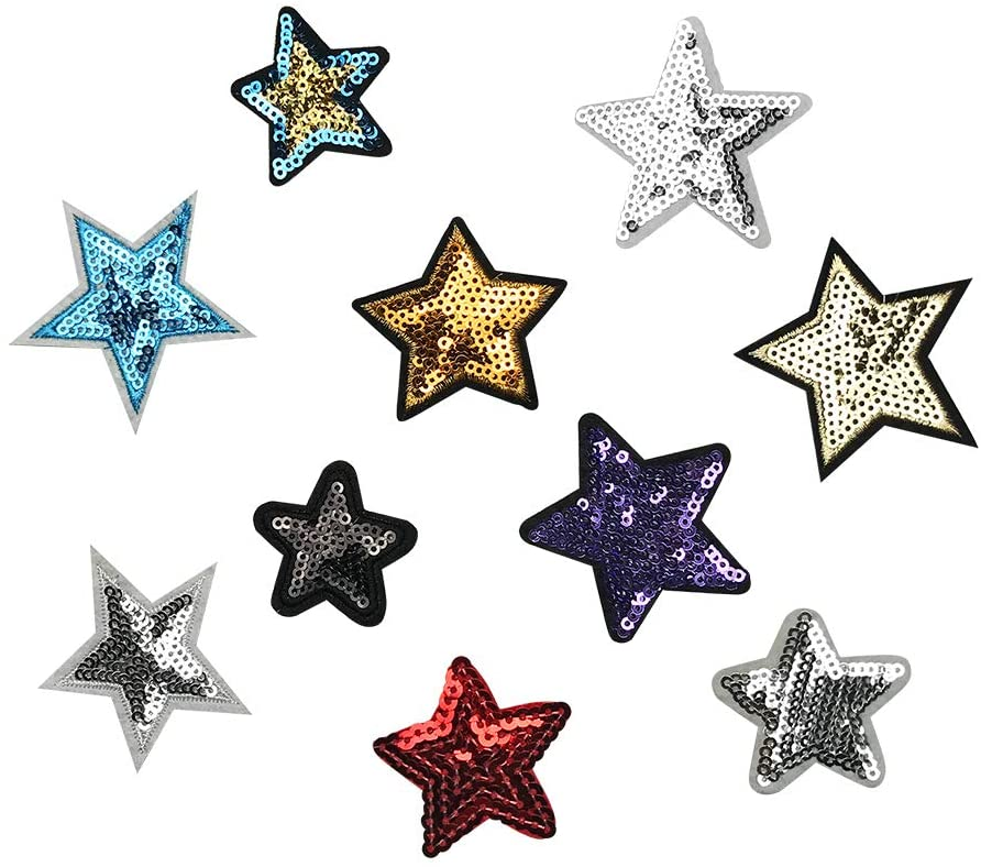 30 PCS Embroidery Sequined Five-Pointed Star Patches for Jeans Jackets Clothing Stitching DIY Artcrafts