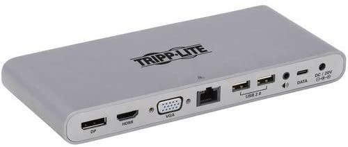 Tripp Lite Thunderbolt 3 Dock, 4K Dual Display Hub with DisplayPort, VGA, USB-A, USB-C, USB 3.2 Gen 1, Ethernet, 3.5 mm Audio Ports, 20V 3A (60W) Power (MTB3-DOCK-02)