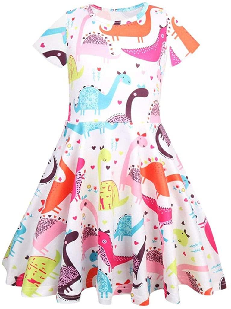 Hstore ✿ Toddler Kids Baby Girl Cartoon Dinosaur Print Tunic Casual Princess Party Dress Casual Clothes Party Dress