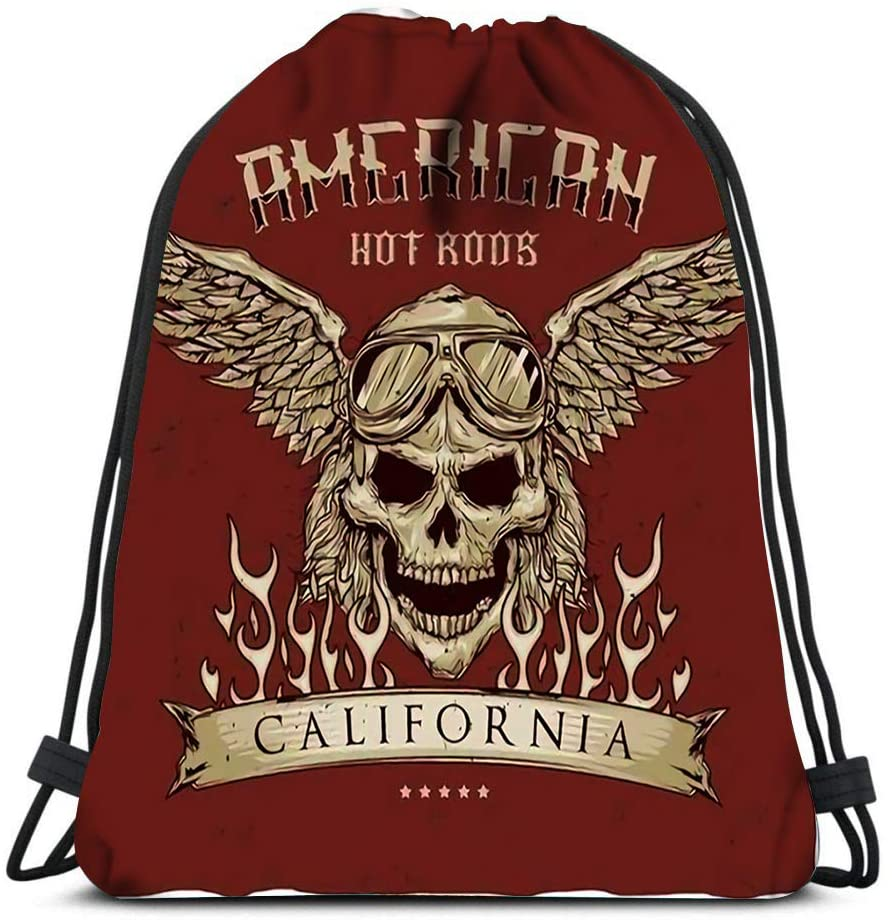 bneegxg Drawstring Backpack Bags Vintage Hot Rod Label of Driver Skull Glasses and Wings Hand Sports Gym Bag