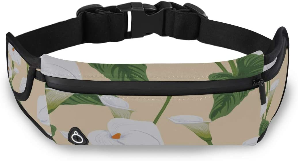Hand Drawn Calla Lily Mens Waist Bags Bag Fashion Womens Fashion Travel Bag With Adjustable Strap For Workout Traveling Running