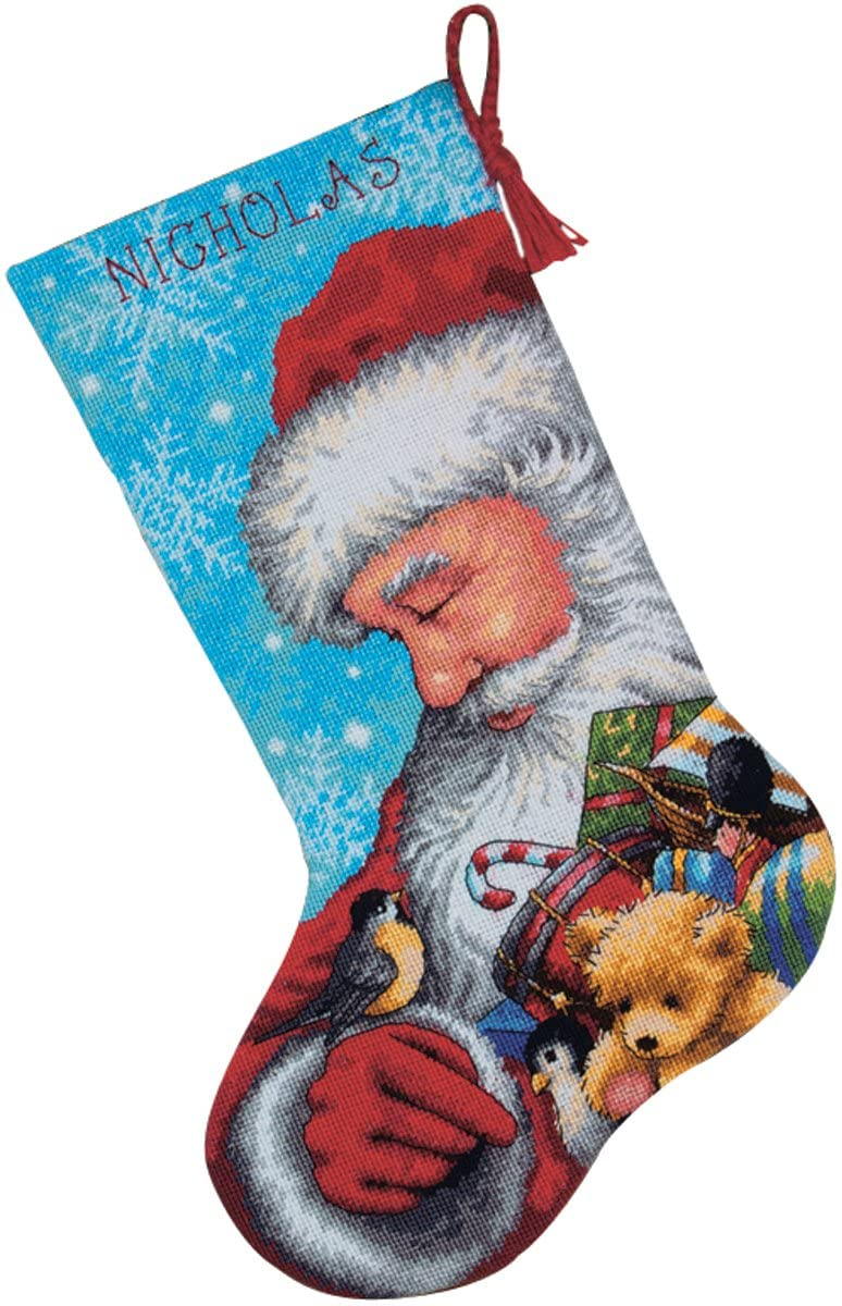 Dimensions Needlepoint Santa and Toys Personalized Christmas Stocking Kit, Printed 14 Mesh Canvas, 16''