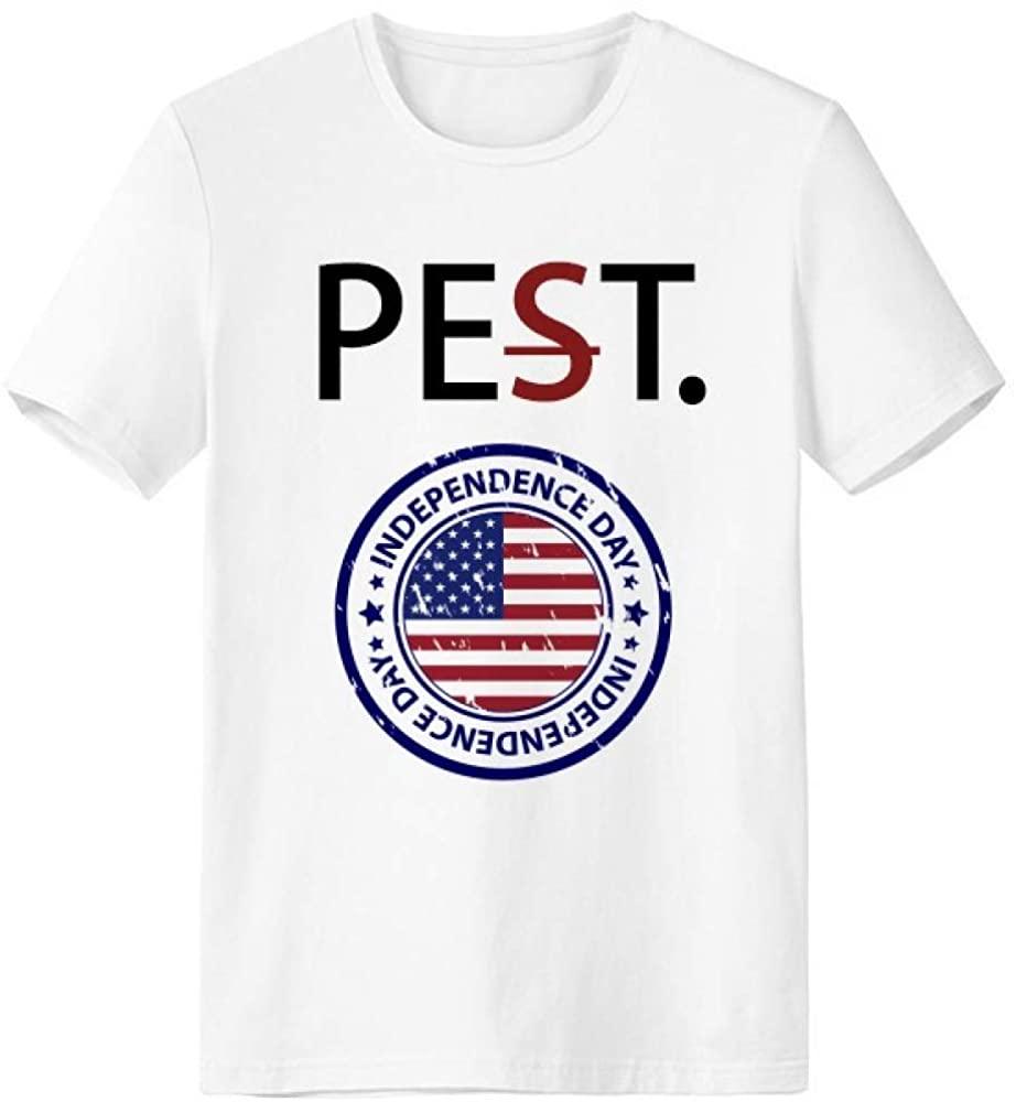 USA Independence Day Flag Postmark Pet But Not Pest White T-Shirt Short Sleeve Crew Neck Sport