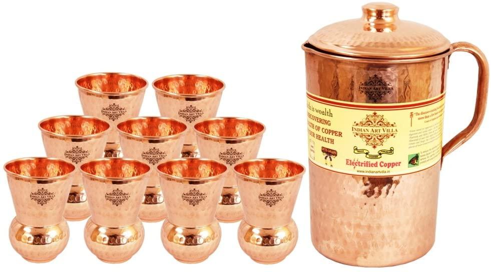 Indian Art Villa Handmade Pure Copper Hammered Pitcher Jug 71 OZ, 9 Glass Tumbler Cup