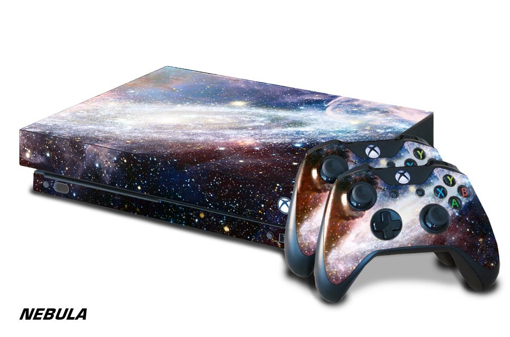 247Skins Designer Skin Sticker for the XBOX ONE X Console With Two Wireless Controller Decals - Nebula