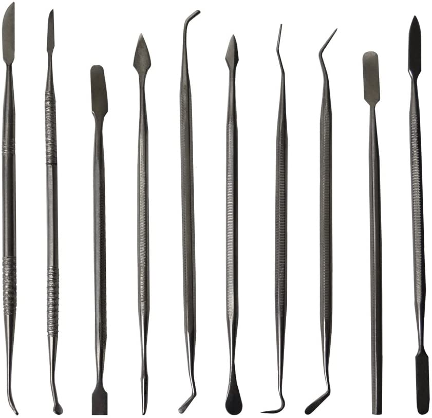 10 Piece Stainless Steel Wax Carving Set w/Storage Pouch Precious Metal Clay Wax Ceramic Carver Detailer Jewelry Making Tool