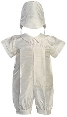 Boy's Christening Silk Set - Boys Christening Clothing Outfits and Bonnet Set - Infant 6 Months White