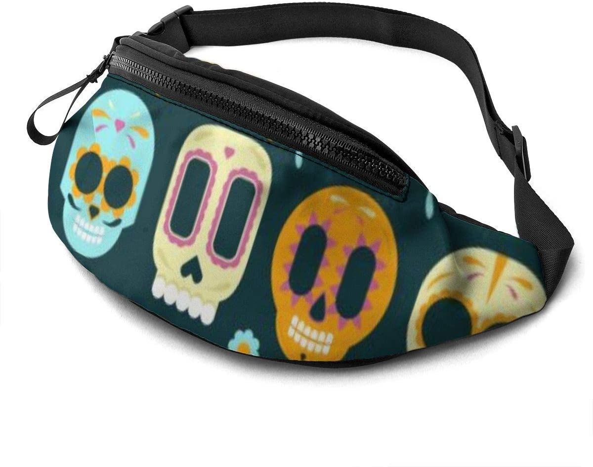 Cute skull designs Fanny Pack for Men Women Waist Pack Bag with Headphone Jack and Zipper Pockets Adjustable Straps