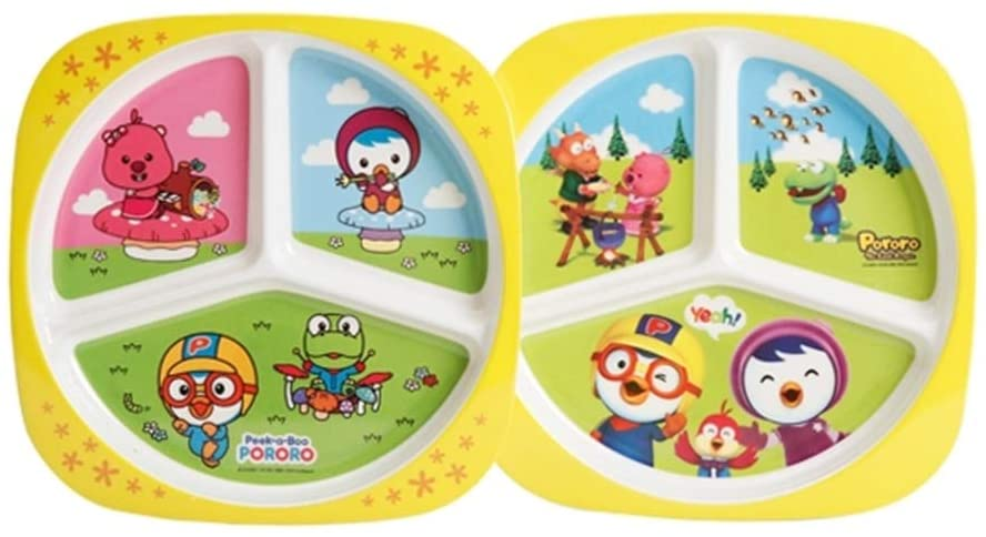 UPIT PORORO Character 3-Compartment Divided Kids Children Food Tray Cafeteria Eating Mess Tray 1P Random Printing