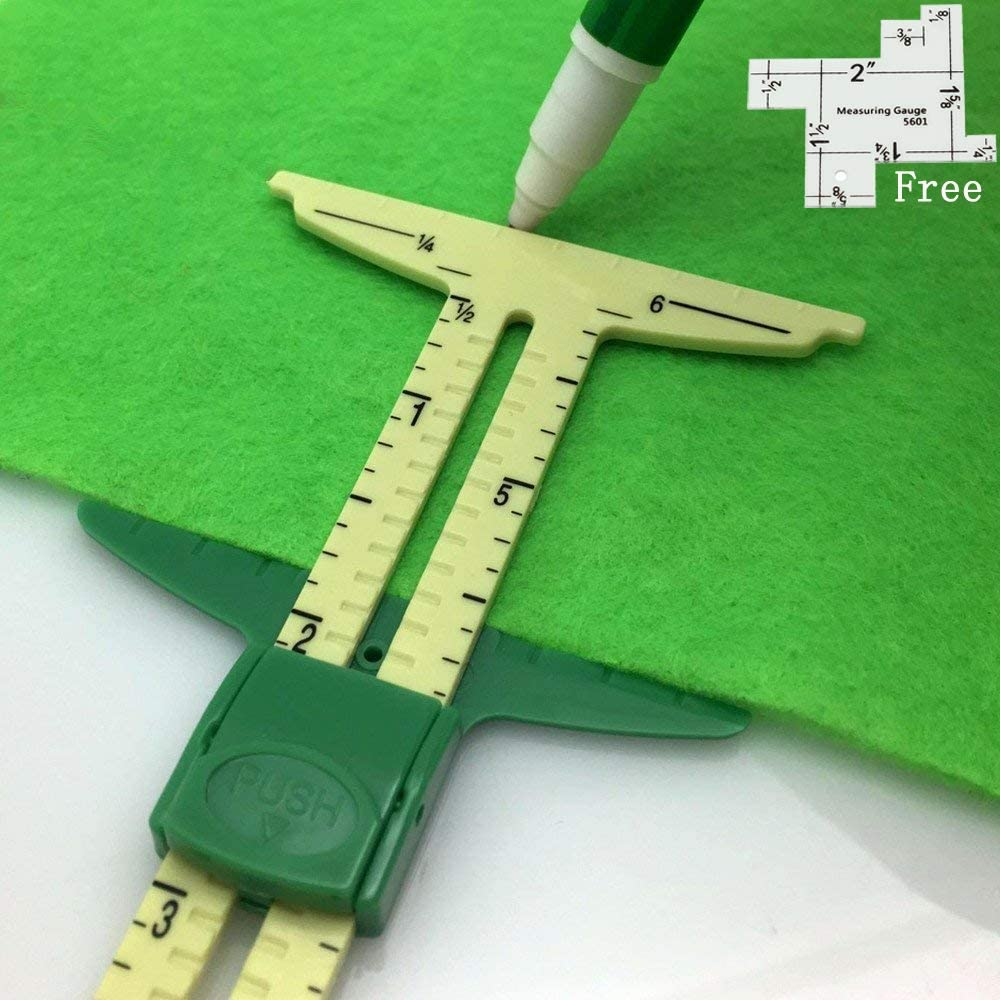 HONEYSEW 5-in-1 Sliding Gauge Measuring Sewing Ruler Tool with Free 1pc Measuring Gauge