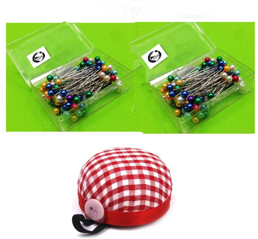 Lilith li 200 Pieces Glass Head Pins Boxed for Dressmaker and Wrist 8CM Pin Holder One
