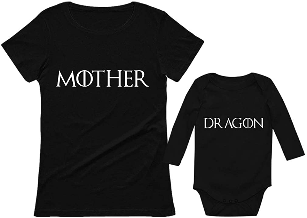 Mother & Baby Dragon Matching Outfit Mommy & Son/Daughter Matching Set Shirts