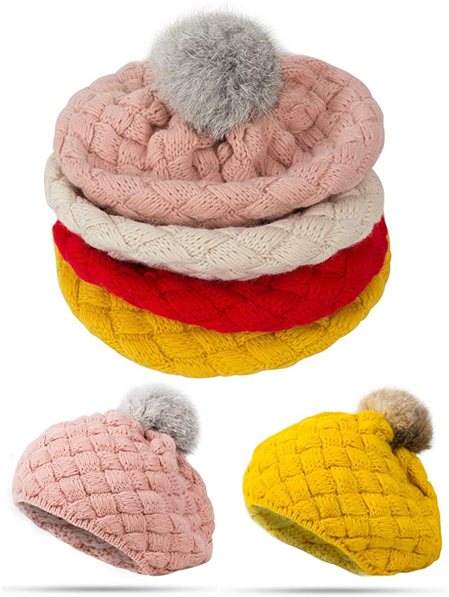 Tabpole Cute Baby Plush Hat with Two Ball Decoration is Beautiful, Soft and Comfortable for Infants