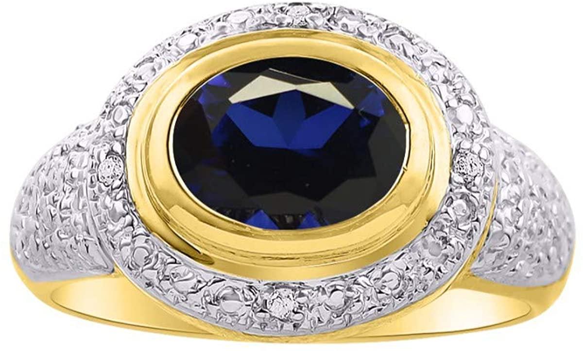 RYLOS Simply Elegant Beautiful Blue Sapphire & Diamond Ring - September Birthstone