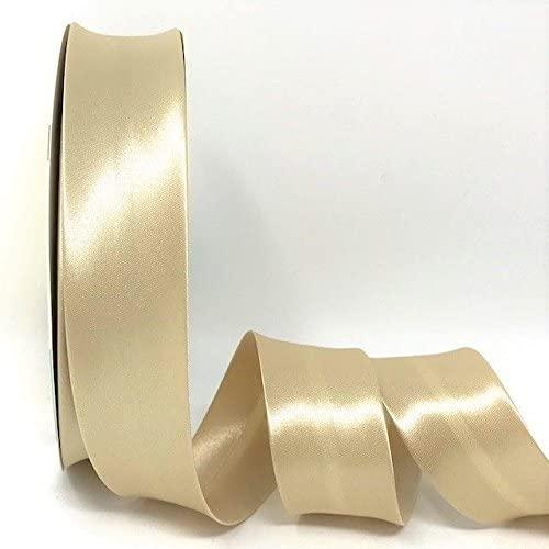 Soft Gold Byetsa Satin Fold 30mm Bias Tape on a 25m Roll