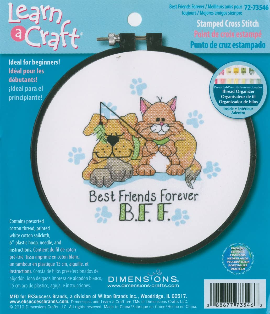 DIMENSIONS ''Best Friends Forever'' Stamped Cross Stitch Kit for Beginners, 6'' D