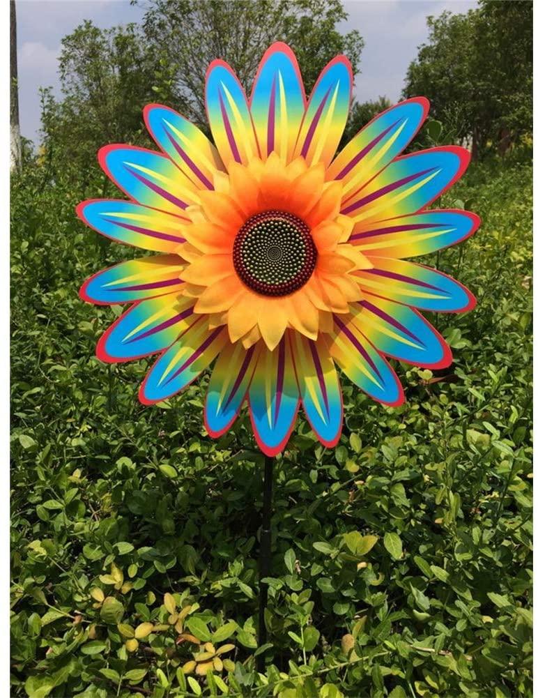 XuBa Sunflower Windmill Wind Turbine for Lawn Garden Party Decoration Multicolored